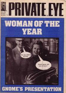 dennis thatcher in the background to Margaret in Private Eye
